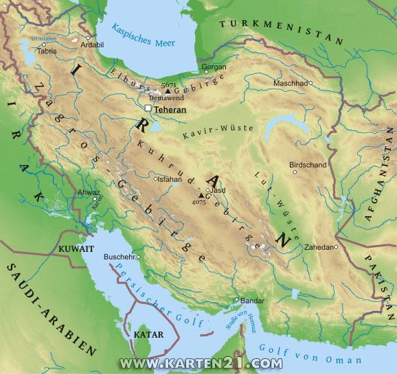 Physische karte von iran